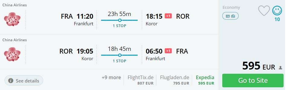 frankfurt to palau