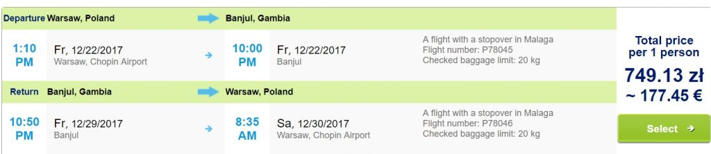 Last Minute Flights To Gambia From Warsaw For 177