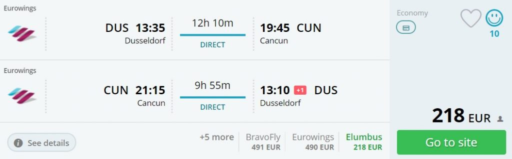 non stop flights from dusseldorf to cancun
