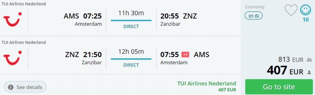 nye flights amsterdam zanzibar