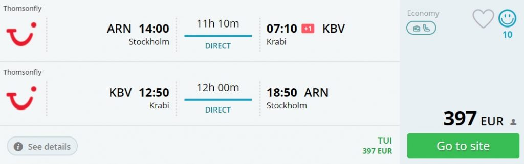 LAST MINUTE Non-Stop flights from Stockholm to KRABI