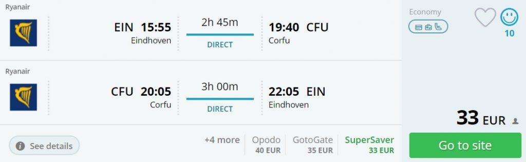 cheap flights eindhoven corfu