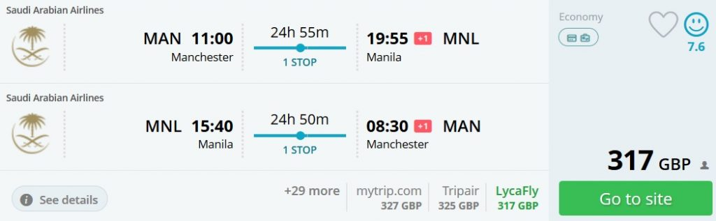 cheap flights manchester philippines