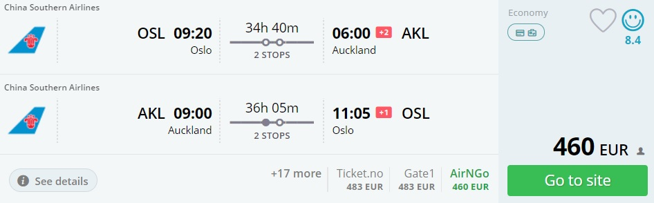 cheap flights oslo auckland new zealand