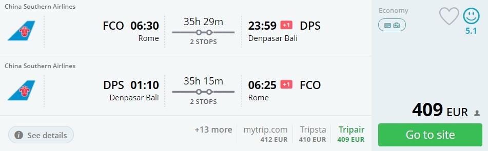 cheap flights rome bali