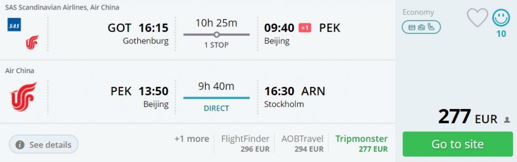 cheap flights sweden bejing china