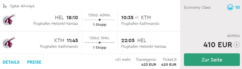 cheap flights to nepal from helsinki