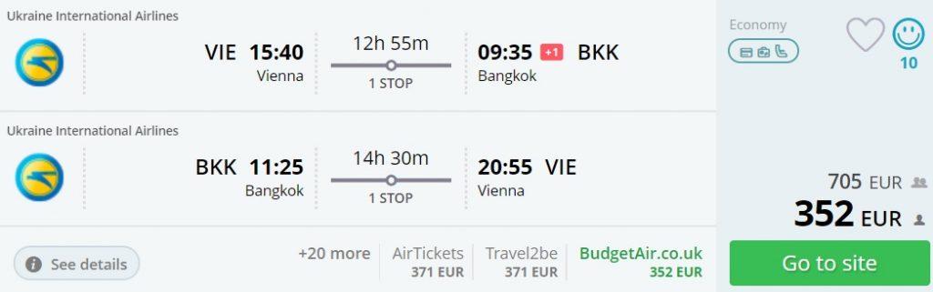 cheap flights vienna bangkok thailand