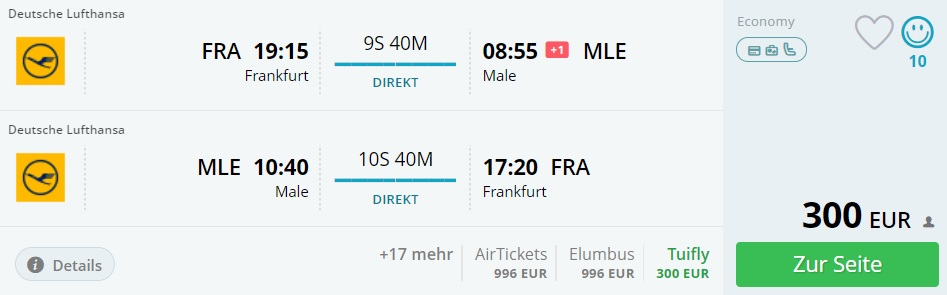direct flights frankfurt maldives