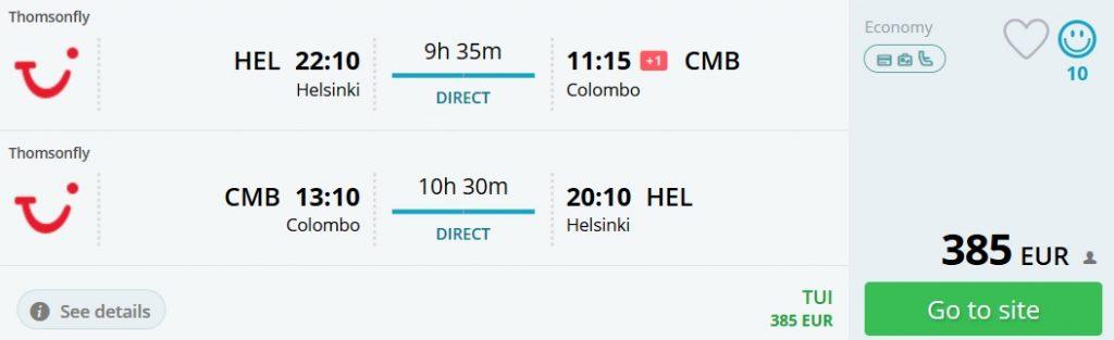 direct flights helsinki sri lanka