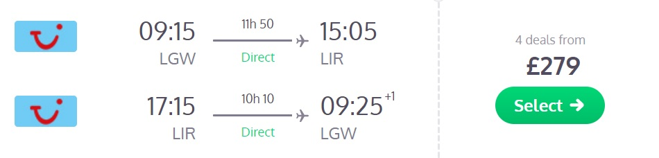 direct flights london costa rica