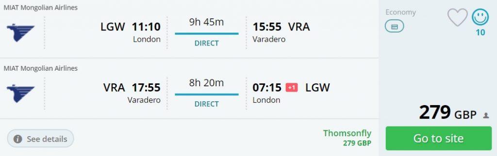 direct flights uk cuba