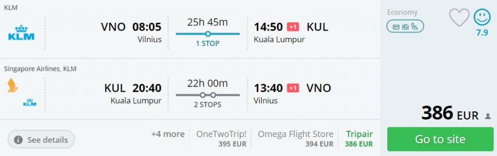flights vilnius malaysia
