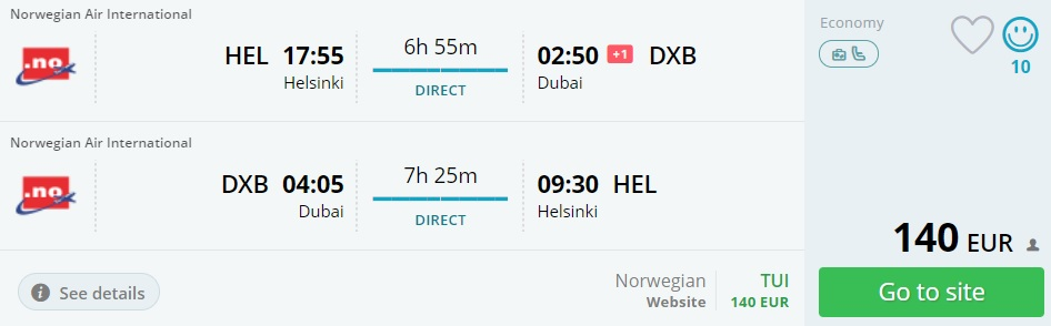 last minute flights from helsinki to dubai