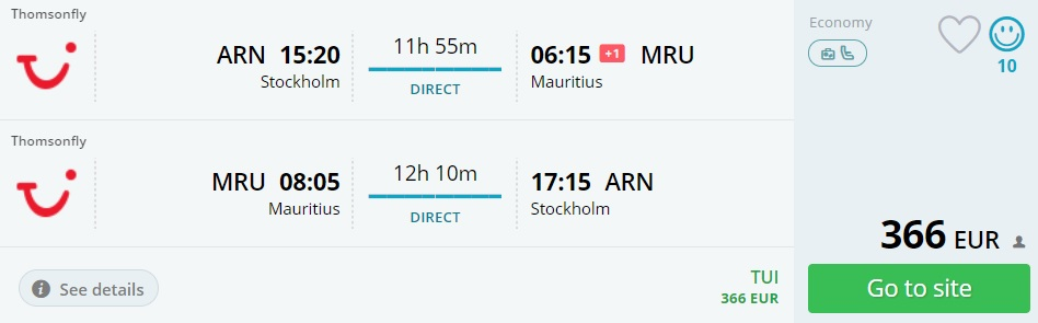 last minute flights from stockholm to mauritius