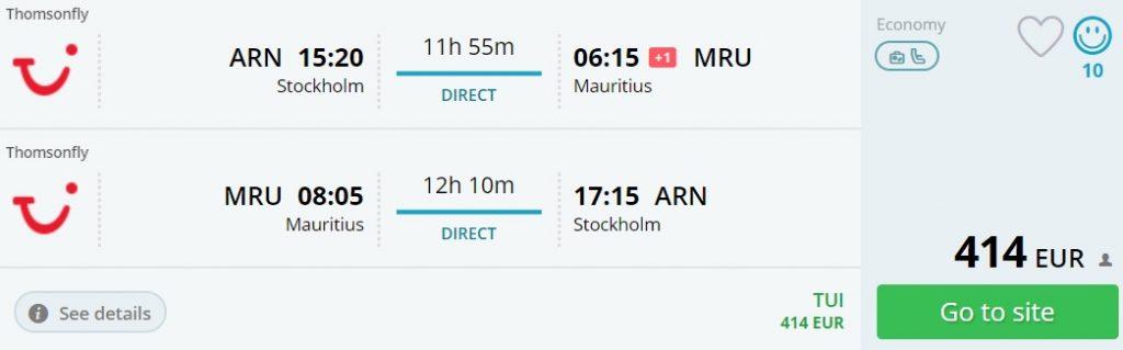 last minute flights stockholm mauritius