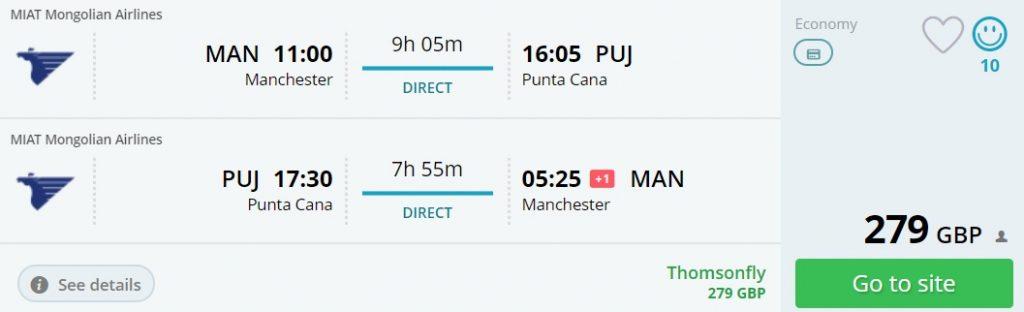 non stop flights manchester punta cana