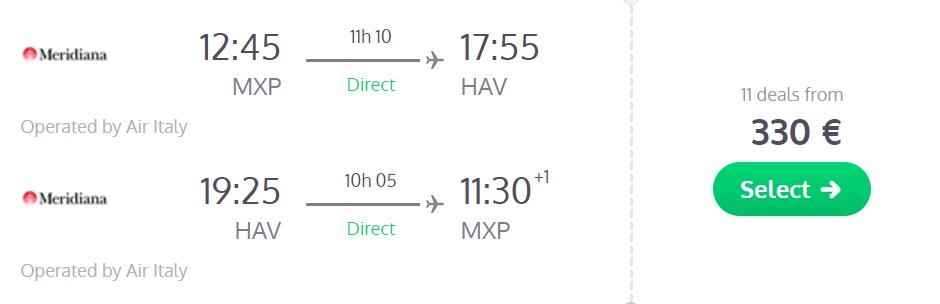 non stop flights milan cuba havana