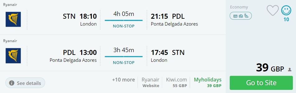 non stop flights to azores from london uk