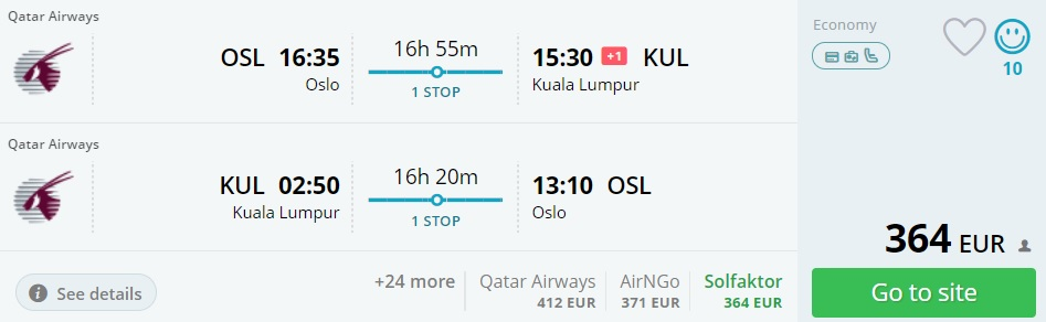 qatar airways flights to malaysia from oslo norway