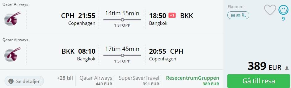 qatar airways flights to thailand from copenhagen