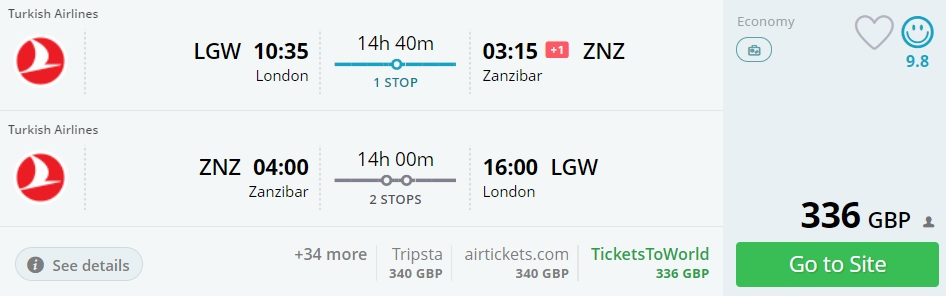 turkish airlines flights london zanzibar