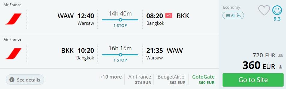 warsaw bangkok thailand airfrance