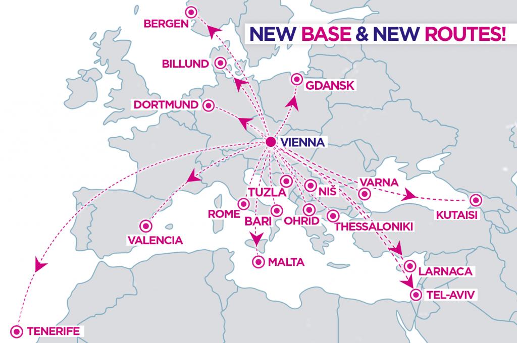 wizzair new route vienna austria