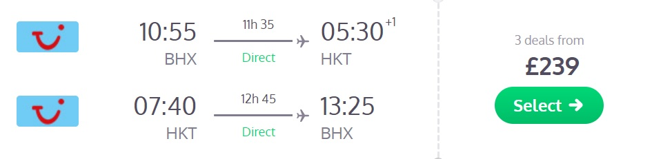 Cheap direct flights from the UK to PHUKET