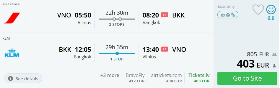 cheap flights to bangkok thailand from vilnius lithuania