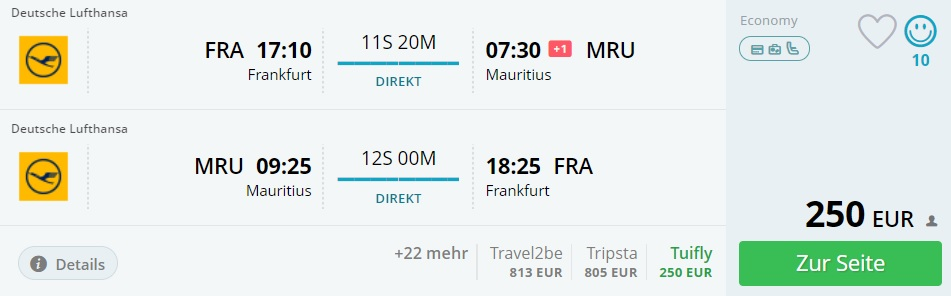 direct flights frankfurt mauritius