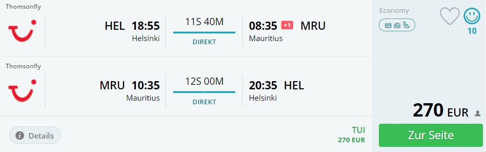 last minute direct flightsfrom helsinki to mauritius