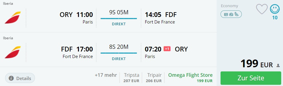 non stop flights from paris to martinique