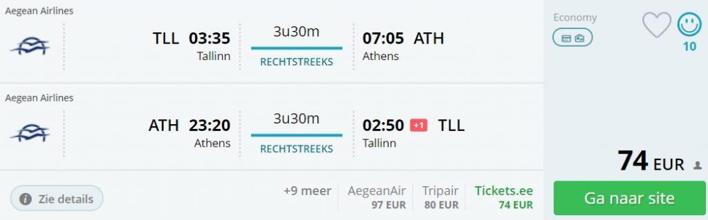 non stop flights tallinn athens