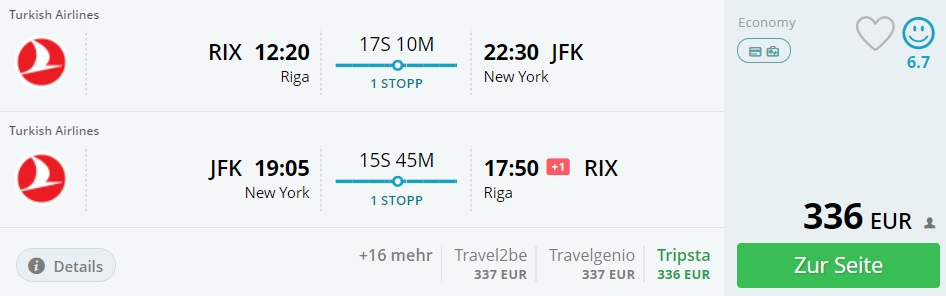turkish airlines flights from riga to new york