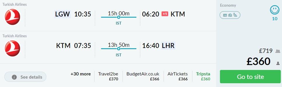 turkish airlines flights london kathmandu nepal