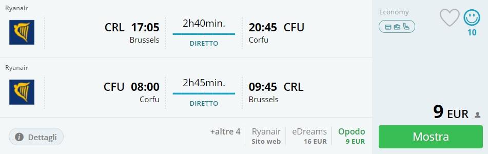 cheap flights brussels corfu