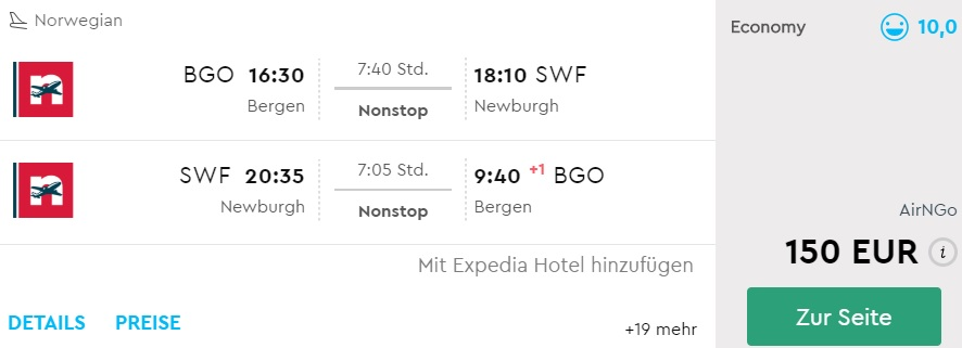 direct flights from bergen norway to new york
