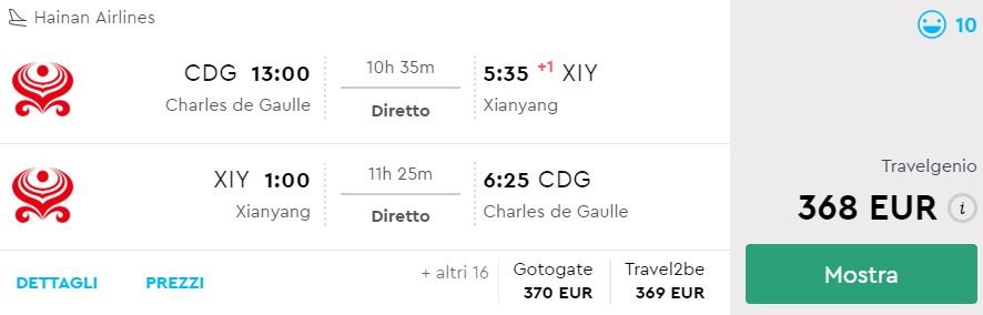 direct flights paris xian china