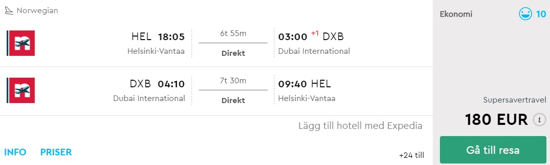 non stop flight to dubai from helsinki