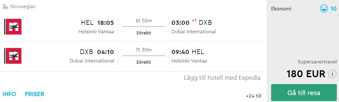 non stop flight to dubai from helsinki