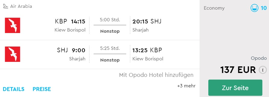 non stop flights from kyiv to uae sharjah