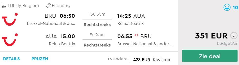 Cheap flights from Brussels to ARUBA