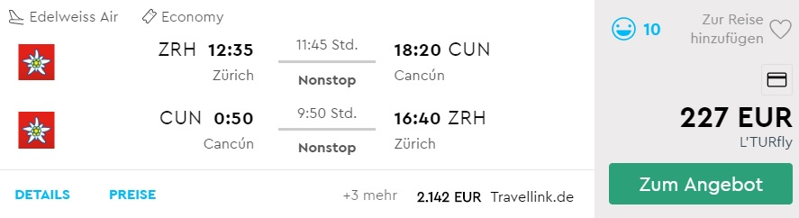 Last-minute Flight from Zurich to CANCUN