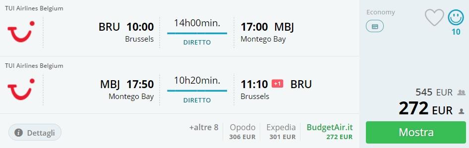 cheap flight tickets brussels jamaica