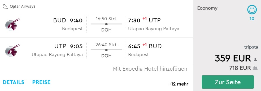 cheap flights from budapest to pattaya thailand