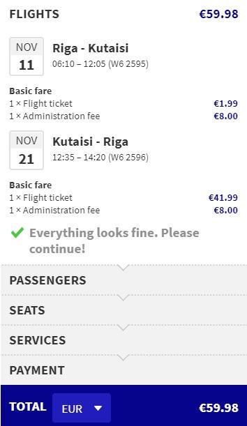 direct flights from riga to kutaisi georgia