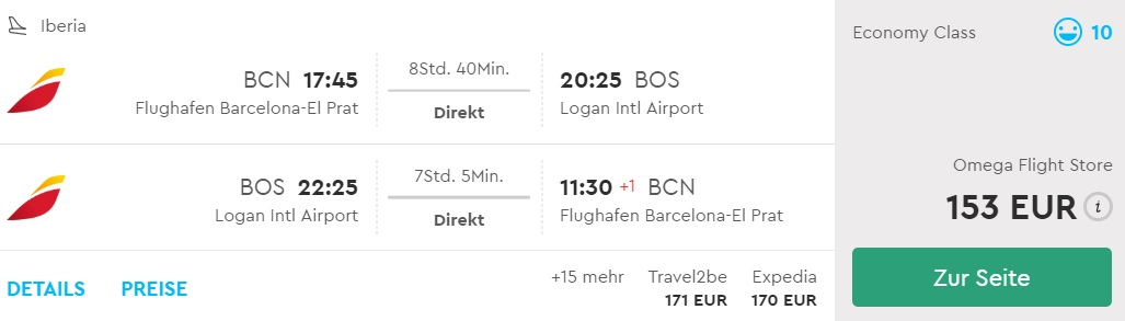 flights from barcelona to boston