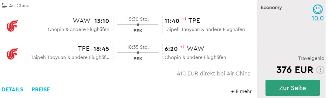 flights from warsaw to taiwan