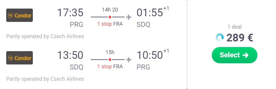 fly from the prague to the dominican republic